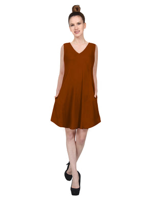 CASUAL SLEEVELESS V-NECK FLARED ROUND HEM TUNIC VISCOSE SHORT DRESS WITH SIDE POCKETS NEWDR210 PLUS