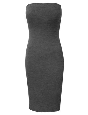 BASIC KNEE HIGH STRAPLESS COCKTAIL PENCIL DRESS NEWDR23