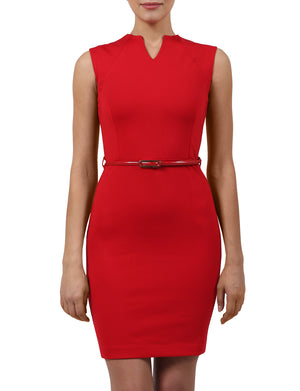 LIGHT WEIGHT SLEEVELSS HIGH NECK SLIM FIT MIDI ABOVE KNEE DRESS WITH BELT NEWDR41