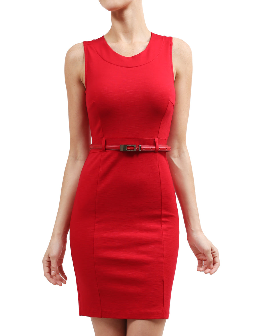 HIGH QUALITY SLEEVELESS FITTED OFFICE PENCIL DRESS WITH BELT DETAIL NEWDR43