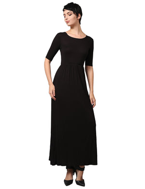 WOMEN'S SHORT SLEEVE SCOOP NECK PLAIN MAXI DRESS NEWDR44