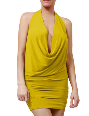 WOMEN DEEP V-NECK HALTER SEXY EVENING DRESS NEWDR59