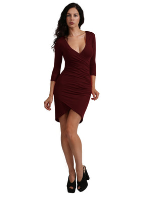 LONG SLEEVE DRESS WITH PLUNGED RUCHED FRONT NEWDR60
