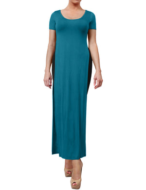 CLASSIC SHORT SLEEVE SPLIT SLIT MAXI DRESS NEWDR62
