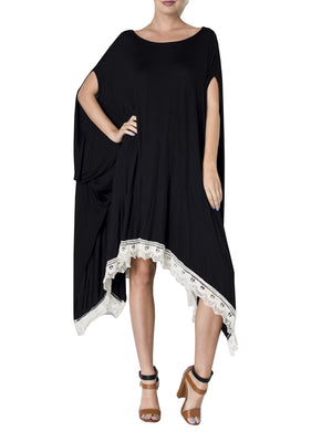 WIDE ROUND NECK PONCHO KAFTAN MAXI HANDKERCHIEF HEM DRESS NEWDR79