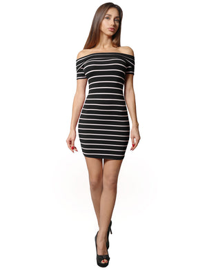 BODYCON OFF SHOULDER SHORT SLEEVED STRIPE DRESS NEWDR80