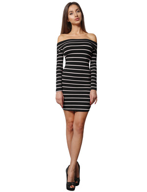 BODYCON OFF SHOULDER LONG SLEEVED STRIPE DRESS NEWDR81