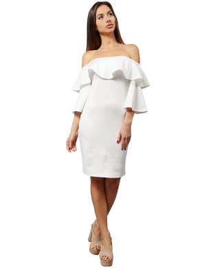 ELEGANT OFF SHOULDER RUFFLE SLEEVE MIDI COCKTAIL DRESS NEWDR85