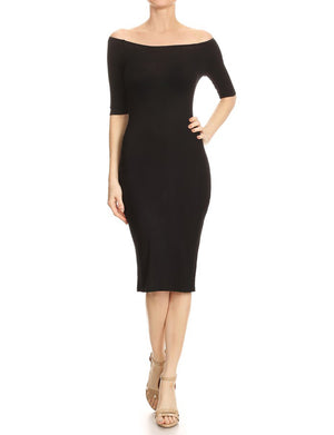 BODYCON OFF SHOULDER KNEE LENGTH MIDI RIBBED DRESS NEWDR89