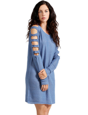 LADDER LONG SLEEVE LOOSE FIT TUNIC SWEATER DRESS NEWDR90 PLUS