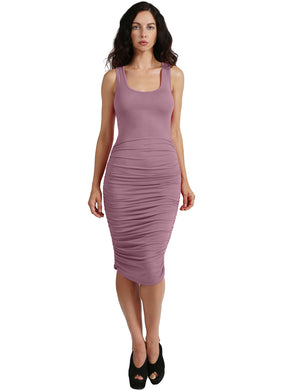 SLEEVELESS SIDE RUCHED MIDI DRESS NEWDR91