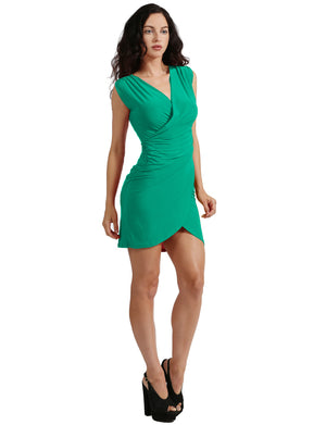 DEEP V-NECK FRONT WRAPPED RUCHED DRESS NEWDR97