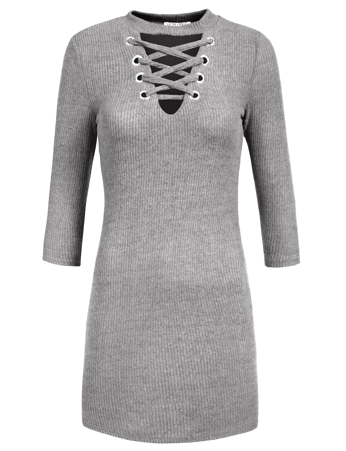 c2fa22d73e76 FITTED LACE UP FRONT V-NECK LONG SLEEVE KNIT SWEATER DRESS TOP - NE ...