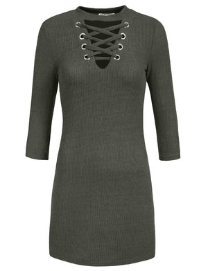 FITTED LACE UP FRONT V-NECK LONG SLEEVE KNIT SWEATER DRESS TOP NEWDR99