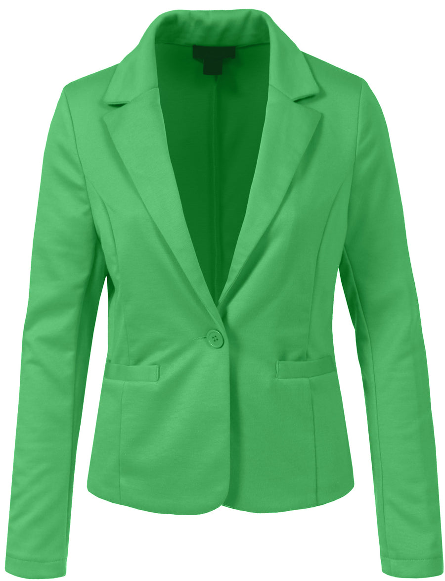 WOMEN LIGHT WEIGHT FIT LONG SLEEVE TAILORED ONE BUTTON BLAZER JACKET NEWJ102