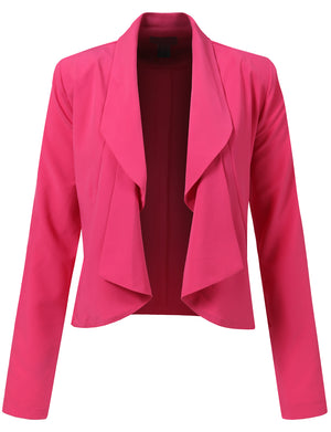 WOMEN LIGHT WEIGHT OPEN FRONT SHRRING COLLAR LONG SLEEVE BLAZER JACKET NEWJ104