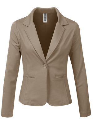 LONG SLEEVE ONE BUTTON TAILORED BLAZER OFFICE JACKET NEWJ113