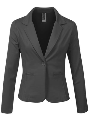 LONG SLEEVE ONE BUTTON TAILORED BLAZER OFFICE JACKET NEWJ113 PLUS