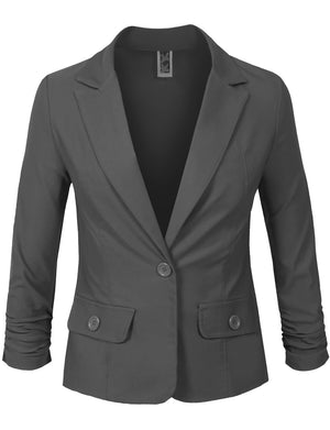 3/4 SCRUNCHED SLEEVE ONE BUTTON BASIC BLAZER OFFICE JACKET NEWJ114 PLUS