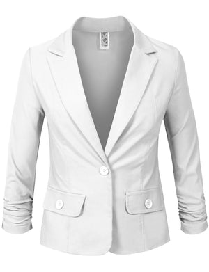 3/4 SCRUNCHED SLEEVE ONE BUTTON BLAZER OFFICE JACKET NEWJ114
