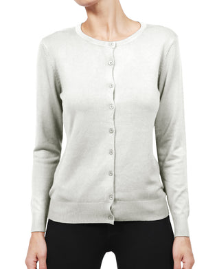 STRETCH CREW NECKLINE LONG SLEEVE BUTTON END RIBBED CONTRAST CARDIGAN NEWJ120 PLUS