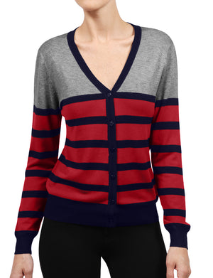 WOMEN BASIC STRIPE V-NECK BASIC LONG SLEEVE SOFT FABRIC CARDIGAN NEWJ122