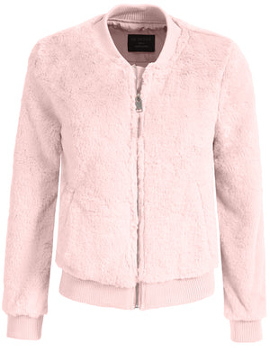 BASIC SOFT FUR LONG SLEEVE ZIP-UP JACKET NEWJ136