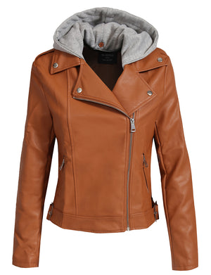 FITTED MIXED MEDIA FAUX LEATHER ZIP-UP MOTO JACKET HOODIE NEWJ137