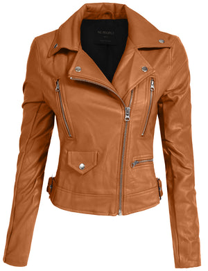FITTED MIXED MEDIA FAUX LEATHER ZIP-UP MOTO JACKETS HOODIE