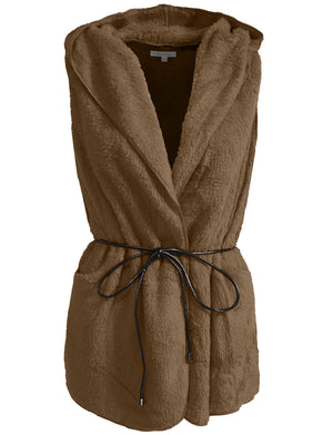 LIGHT WEIGHT FAUX FUR HOODED VEST WITH BELT NEWJ139