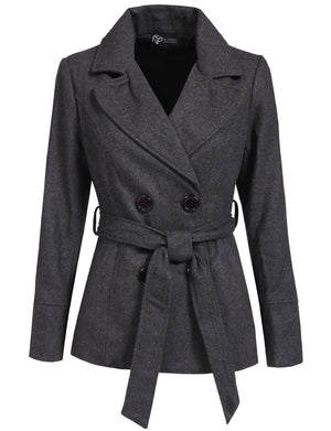 CLASSIC DOUBLE BREASTED PEA COAT WITH BELTS NEWJ140