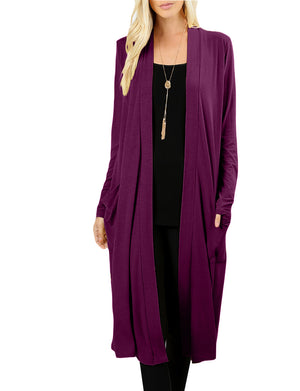 CLASSIC LONG SLEEVE KNEE LENGTH OPEN FRONT SIDE POCKETS CARDIGAN NEWJ1441 PLUS