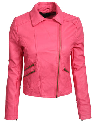 PREMIUM FITTED FAUX LEATHER ZIP-UP MOTO JACKET NEWJ15