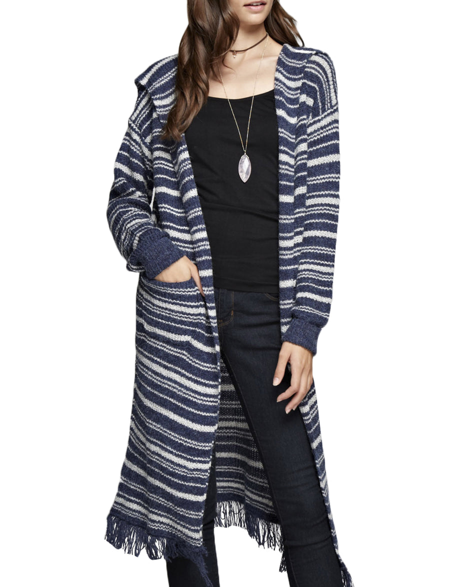 STRIPED HOODIE LIGHT WEIGHT LONG CARDIGAN NEWJ195