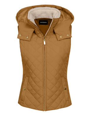 LIGHT WEIGHT QUILTED FUR ZIP VESTS NEWJ201