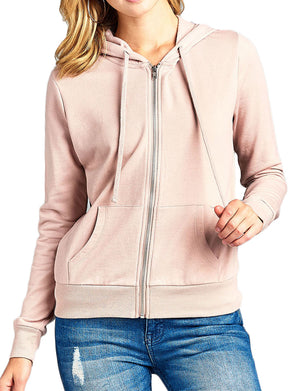 BASIC LONG SLEEVE PULLOVER BRUSHED ZIP-UP HOODIE FLEECE JACKET NEWJ204