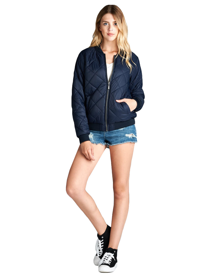 BASIC CASUAL QUILTED PADDING BOMBER JACKET NEWJ2049