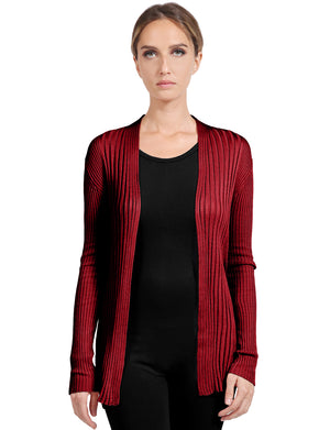 BASIC LONG SLEEVE OPEN FRONT RIBBED KNIT CARDIGAN NEWJ2050