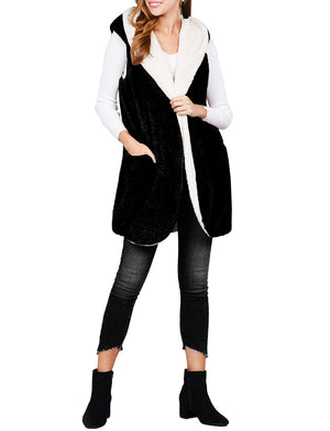 LIGHT WEIGHT SOFT FAUX FUR HOODED VEST