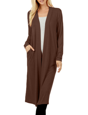 REGULAR & PLUS SIZES LONG SLEEVE KNEE LENGTH CARDIGANS NEWJ2382 PLUS