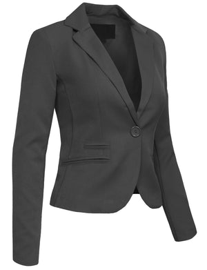 CLASSIC OFFICE ONE BUTTON BLAZER JACKET NEWJ27