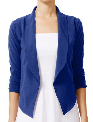 BIG HIGH LAPEL COLLAR OPEN FRONT MILLENNIUM FABRIC BLAZER JACKETS