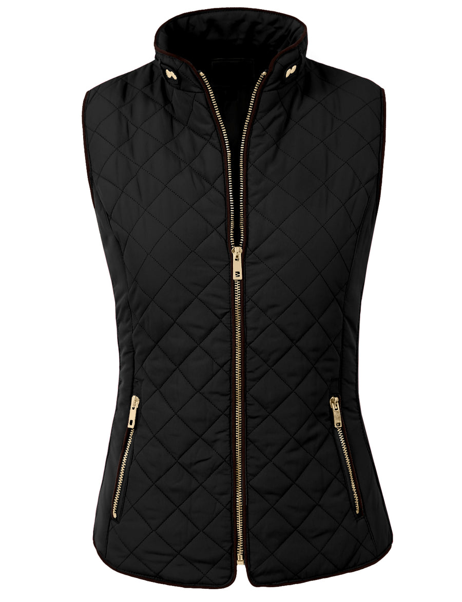 LIGHT WEIGHT QUILTED ZIP VEST NEWJ40