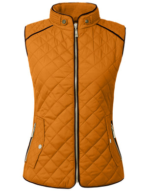 Classic Quilted Front Zip Up Padded Vest