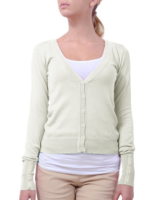 BUTTON DOWN LONG SLEEVE V-NECK KNIT CARDIGAN NEWJ45 PLUS