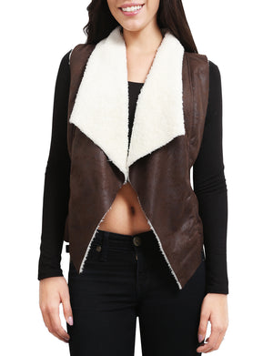 LIGHT WEIGHT FAUX LEATHER WOOL LINED VEST NEWJ67