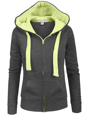 LONG SLEEVE ZIP-UP FLEECE JACKET HOODIE WITH STRIPE PRINT DETAIL NEWJ71