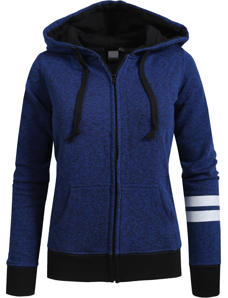 LONG SLEEVE ZIP-UP FLEECE JACKET HOODIE WITH STRIPE PRINT DETAIL NEWJ73