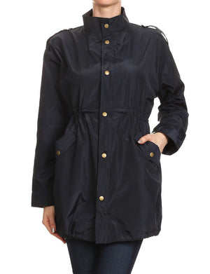 SHINY NYLON JACKET WITH ZIPPER & BUTTON CLOSURE NEWJ87