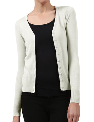 BUTTON DOWN CLASSIC V-NECK CARDIGAN SWEATER WITH STRETCH NEWJ91